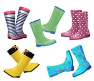 Wellies collection Colorful rubber boots pair Autumn Card Stock Photo