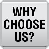Why choose us. Vector illustration isolated on white background - why choose us web button stock illustration