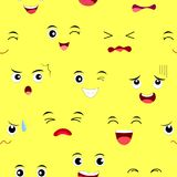 Funny face seamless pattern. Facial expression cartoon characters. Vector illustration isolated on yellow background Royalty Free Stock Photos