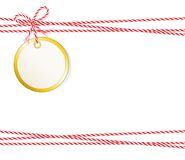 Christmas card round, Gift label with golden edging and cord tape, Label, Price tag, Gift tag, Sale tag, Stock Photo