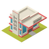 Vector illustration of isometric best store building. Placed on Royalty Free Stock Image