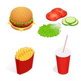 Vector illustration of isometric food burger, French fries, cola, cucumber, tomato, lettuce. Fast food concept. Tasty Stock Photos