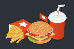 Vector illustration of isometric food: burger, French fries Stock Photography