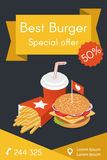 Vector illustration of isometric food: burger, French fries Royalty Free Stock Photos