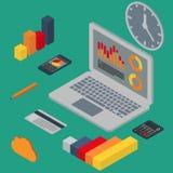 Vector illustration isometric laptop, phone , calculator, schedu Royalty Free Stock Photos