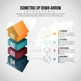 Isometric Up Down Arrow Infographic Royalty Free Stock Images