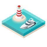 Vector illustration of isometric yacht and a lighthouse Stock Images