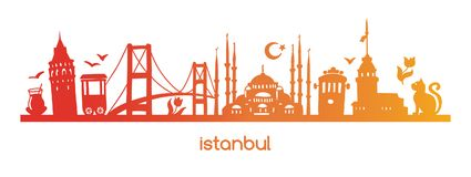 Vector illustration Istanbul with colourful gradient silhouette of famous turkish symbols and landmarks. royalty free illustration
