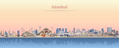 Vector illustration of Istanbul skyline at sunrise Stock Illustration