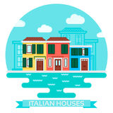 Vector Illustration of an italian houses near water in flat style. Travel and tourism Stock Image