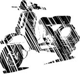 Vector illustration of an Italian scooter with flag stock photo