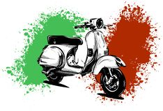 Vector illustration of an Italian scooter with flag stock images