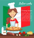 Vector illustration with happy cooking woman and italian cuisine. Vector illustration Italian weeks at culinary school. Happy beautiful woman cooking pizza. Card Royalty Free Stock Photos