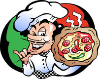 Vector illustration of an Italien Pizza Baker Royalty Free Stock Photo
