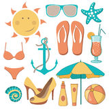 Vector illustration of items related to the beach activities Royalty Free Stock Images