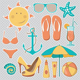 Vector illustration of items related to the beach activities Stock Images