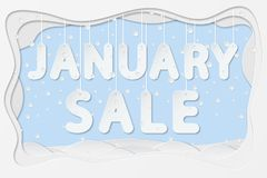 January sale text. Vector illustration of january sale lettering hanging on rope as layered paper cutting art design Royalty Free Stock Image