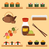 Vector illustration with japanese cuisine objects Royalty Free Stock Photography