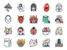 Japanese ghost icon set. Included icons as spirit, monster, demon, folklore and more. vector illustration