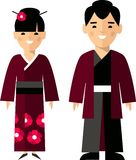Vector illustration of japanese male and female. Set of  japanese male and female dressed in national costumes Stock Images
