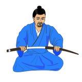 Vector illustration of a Japanese samurai ronin Stock Photography