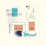 Vector illustration of jars, tubes for natural cosmetics on an abstract background with a palm leaf Stock Image