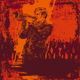 Vector illustration with jazz trumpeter Royalty Free Stock Images