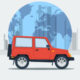 Vector illustration jeep car on town background. Jeepney. Travel journey car. Best taxi. Flat style stock illustration