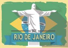Vector illustration jesus statue of rio de janeiro Royalty Free Stock Images