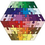 Vector Illustration jigsaw puzzle cuboid Royalty Free Stock Image