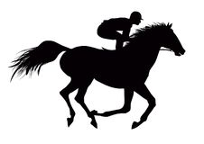 Jockey on running black horse. Vector illustration of jockey on running black horse Stock Image