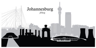 Vector Illustration of Johannesburg. Vector illustration of the Johannesburg South Africa cityscape skyline in black and white silhouette with famous sights Royalty Free Stock Image