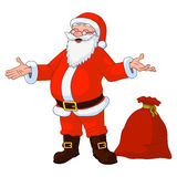 Vector Illustration of jolly plump Santa Claus with divorced hands and bag full of gifts. Stock Photography