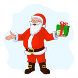 Vector Illustration of jolly plump Santa Claus with divorced hands and gift box Royalty Free Stock Photos
