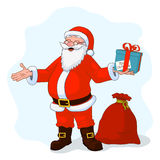 Vector Illustration of jolly plump Santa Claus with divorced hands and gift box, bag full of gifts Royalty Free Stock Images