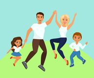Vector illustration of Joyful family jumping. Happy and smiling dad mom daughter and son holding hands jumped in cartoon vector illustration