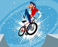 Jump funny biker Royalty Free Stock Photo