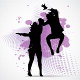 Vector Illustration of jumping boy and girl Royalty Free Stock Photo