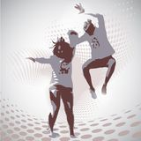 Vector Illustration of jumping boy and girl Stock Photos