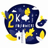 Thank you 2K followers post. Vector illustration of 2k subscribers celebration banner with house, leaves and woman silhouettes. Hand drawing lettering vector illustration