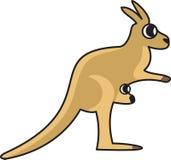 Vector illustration of a kangaroo. Vector illustration of a stylized kangaroo with a cub in the bag Stock Photo