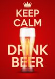 Vector Illustration Keep Calm And Drink Beer Royalty Free Stock Photo