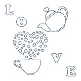 Vector illustration with kettle, cup of tea, hearts. Happy Valentine`s Day. Design for party card, banner, poster or print. Vector. Vector illustration with stock illustration