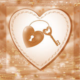 Vector illustration with  key and heart keyhole. Royalty Free Stock Photos