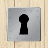 Vector illustration - keyhole on wooden door Royalty Free Stock Images