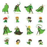 Vector illustration of kid and adult eco superheros in funny comics costume isolated on the white background