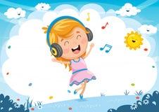 Vector Illustration Of Kid Listening Music. Eps 10 Stock Images