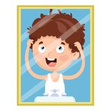 Vector Illustration Of Kid Looking At The Mirror. Eps 10 Stock Images