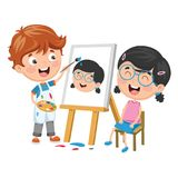 Vector Illustration Of Kid Painting His Friend On Canvas. Eps 10 stock illustration
