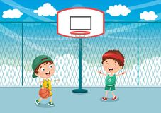 Vector Illustration Of Kid Playing Basketball. Eps 10 stock illustration